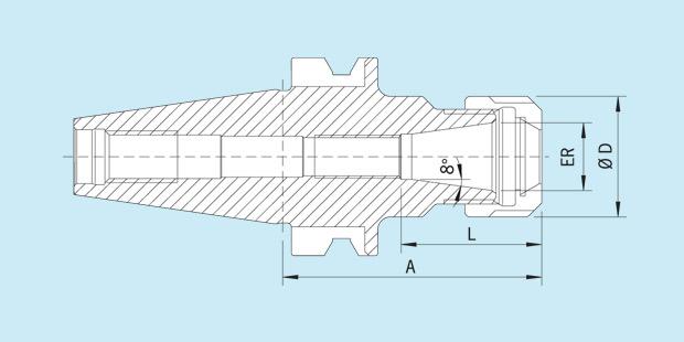 Spannzangenfutter Typ ER Standard mit Zylinderschaft